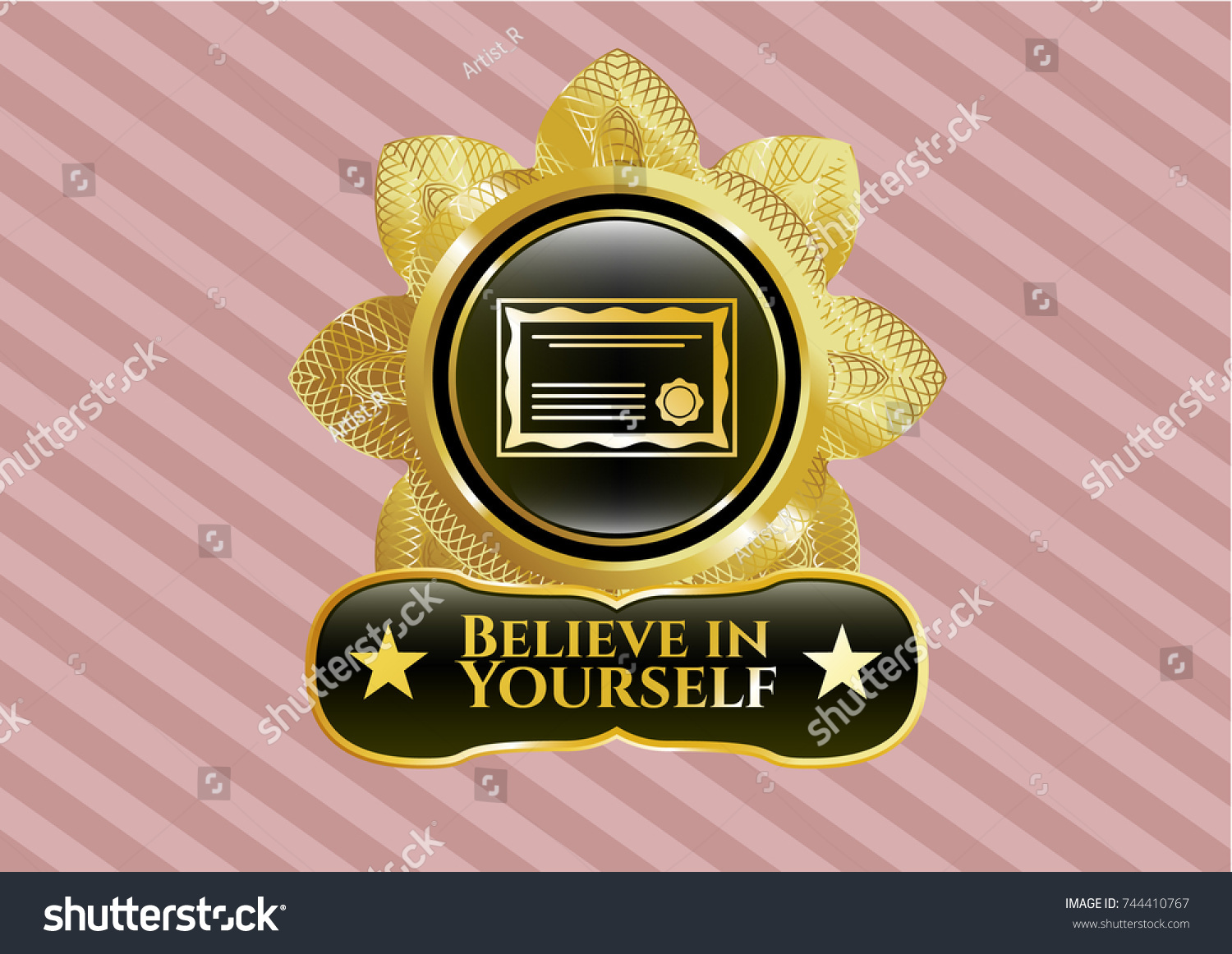 Gold shiny badge certificate icon believe stock vector 744410767 gold shiny badge with certificate icon and believe in yourself text inside biocorpaavc Choice Image
