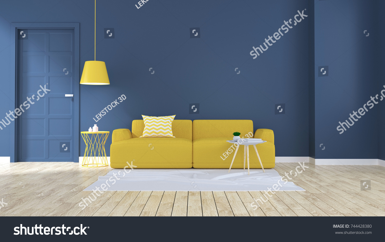 blue modern room interior, yellow sofa with white lamp on wood ...