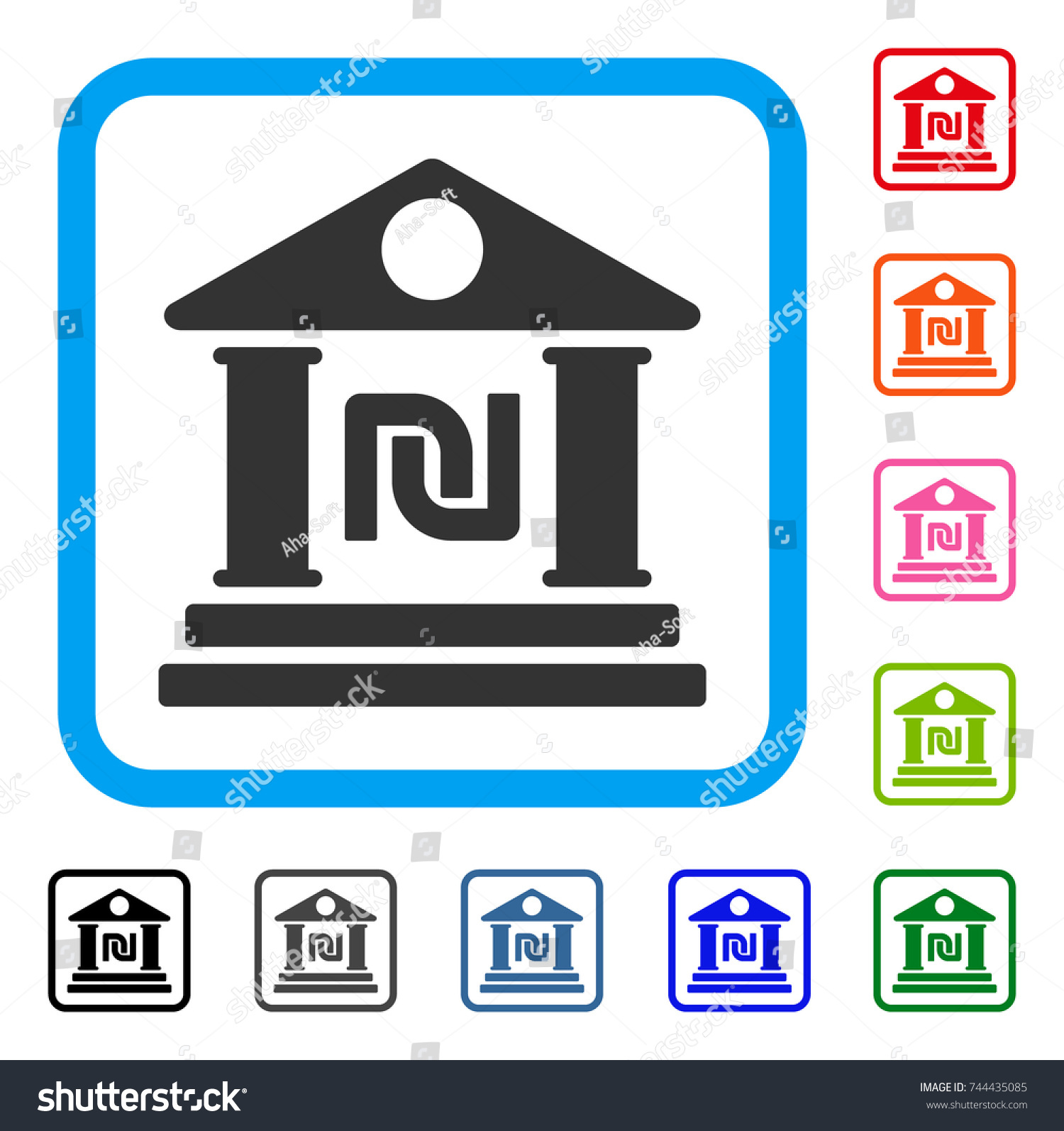 Shekel bank building icon flat gray stock vector 744435085 shekel bank building icon flat gray pictogram symbol in a blue rounded squared frame biocorpaavc Gallery
