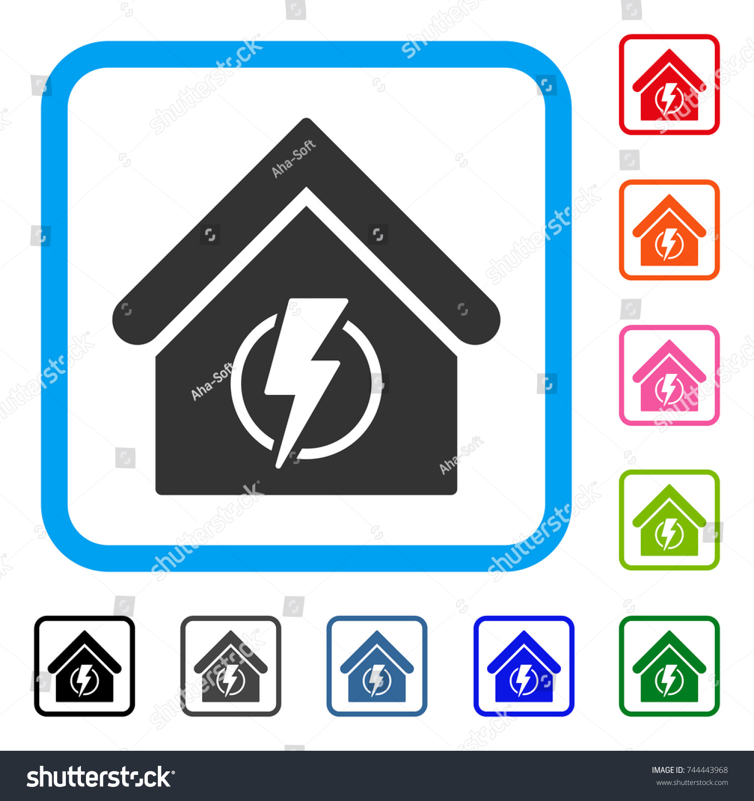 Power Supply Building Icon Flat Gray Stock Vector 744443968 ...