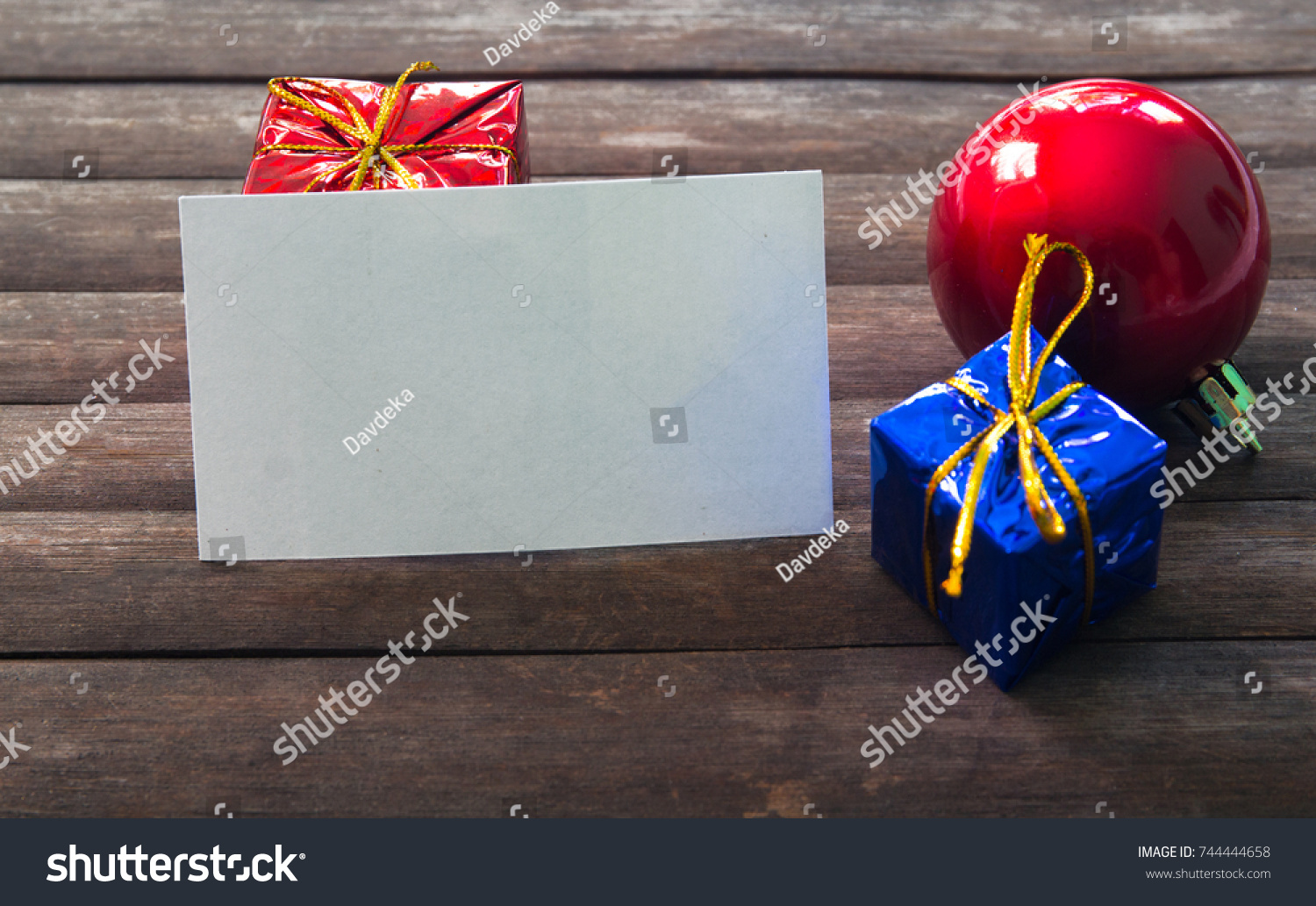 Blank business card christmas decor on stock photo 744444658 blank business card in christmas decor on wooden background christmas card mockup vintage christmas reheart Images