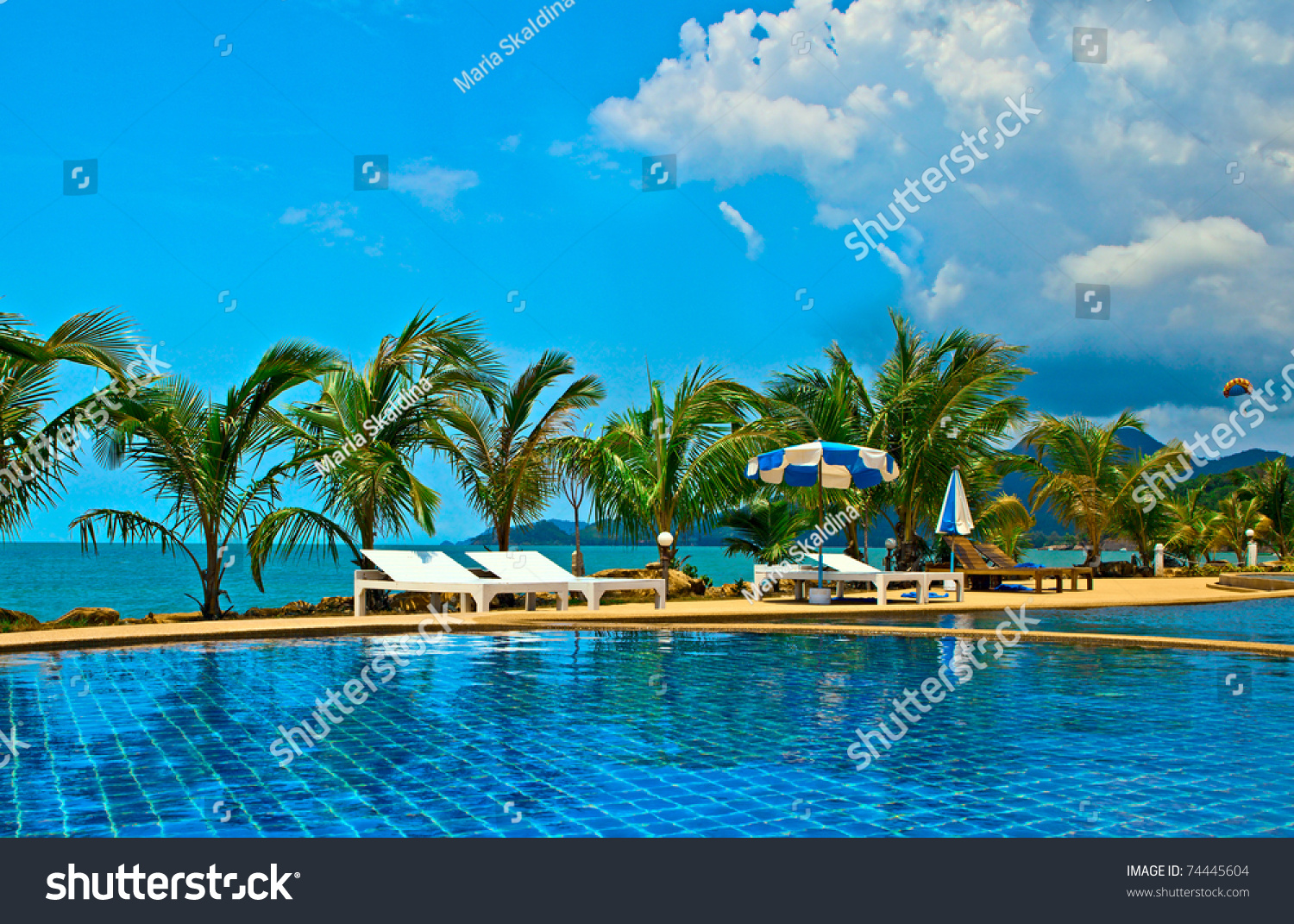 Swimming Pool In Luxury Resort Near The Sea Stock Photo 74445604 Shutterstock