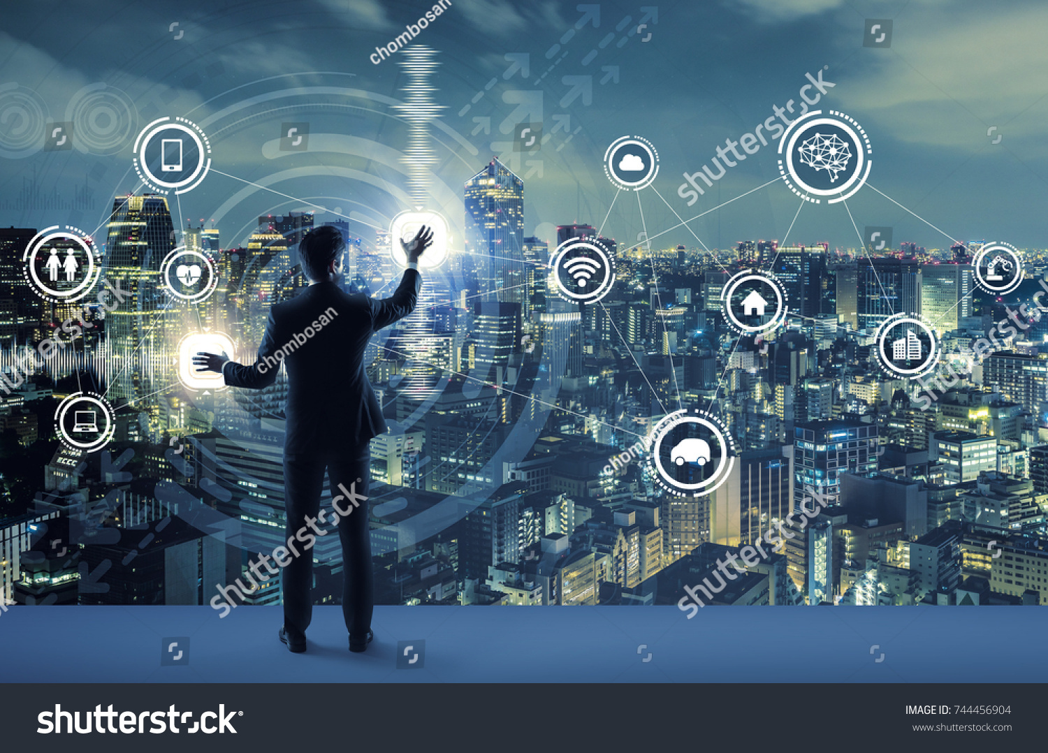 young business person and graphical user interface concept. Artificial Intelligence.  Internet of Things. Information Communication Technology. Smart City. digital transformation. #744456904