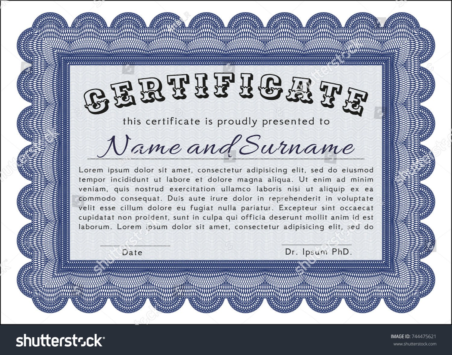 Blue certificate template customizable easy edit stock vector blue certificate template customizable easy to edit and change colors with great quality xflitez Images