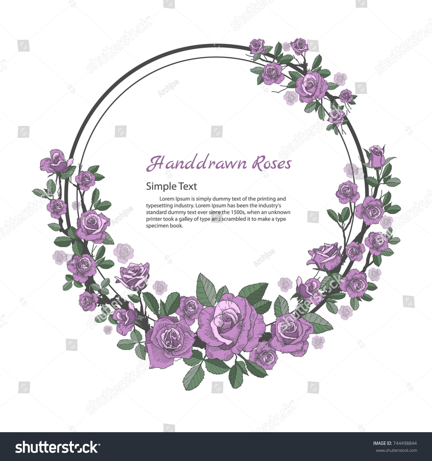 Flower Frame Rose Drawing Sketch On Stock-Vektorgrafik 744498844 ...