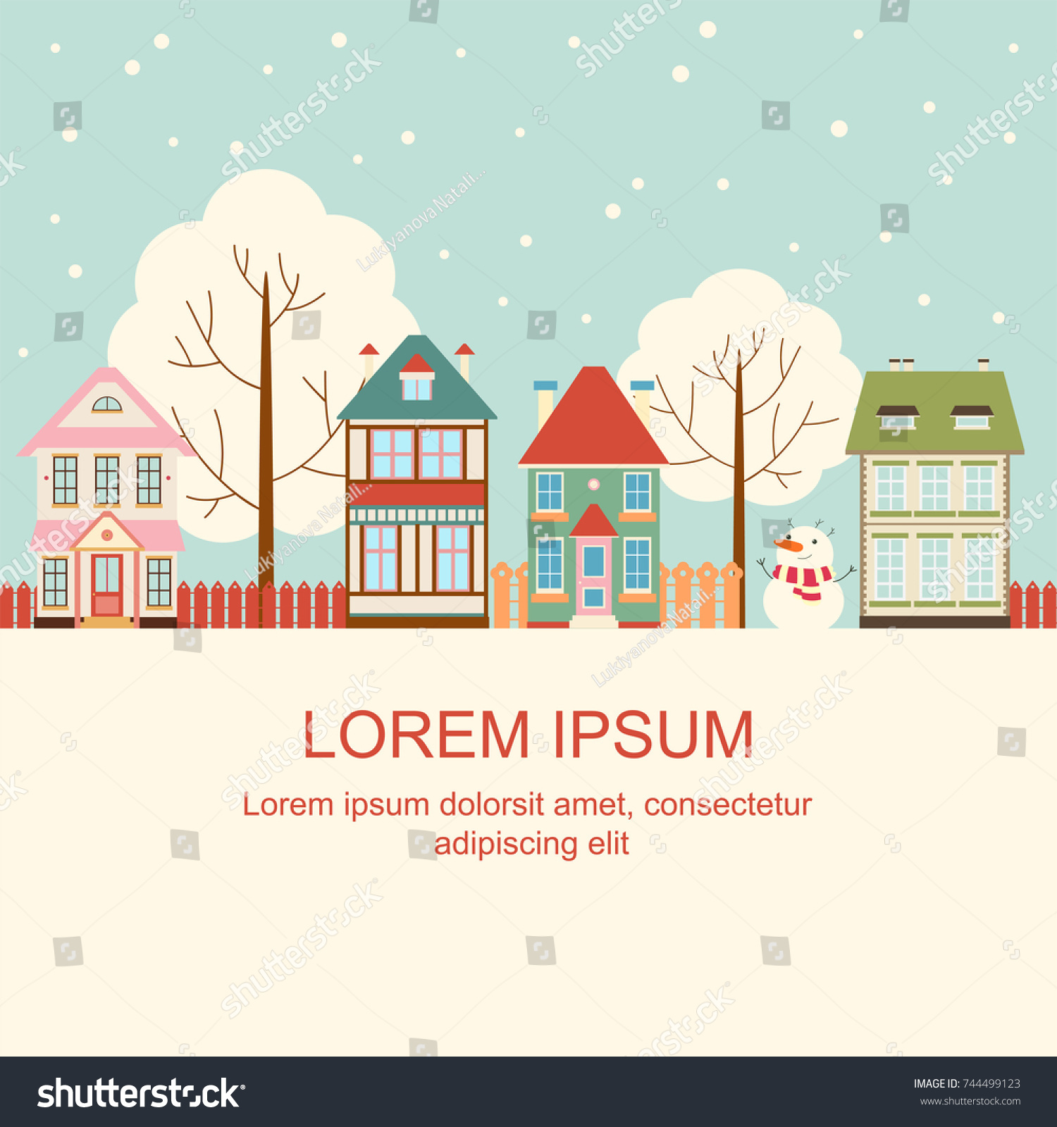 Christmas Card Cute Houses Victorian Style Stock Vector Royalty