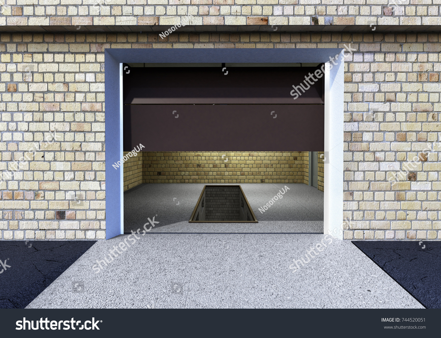 Front View Garage 3 D Interior Opened Stock Illustration 744520051