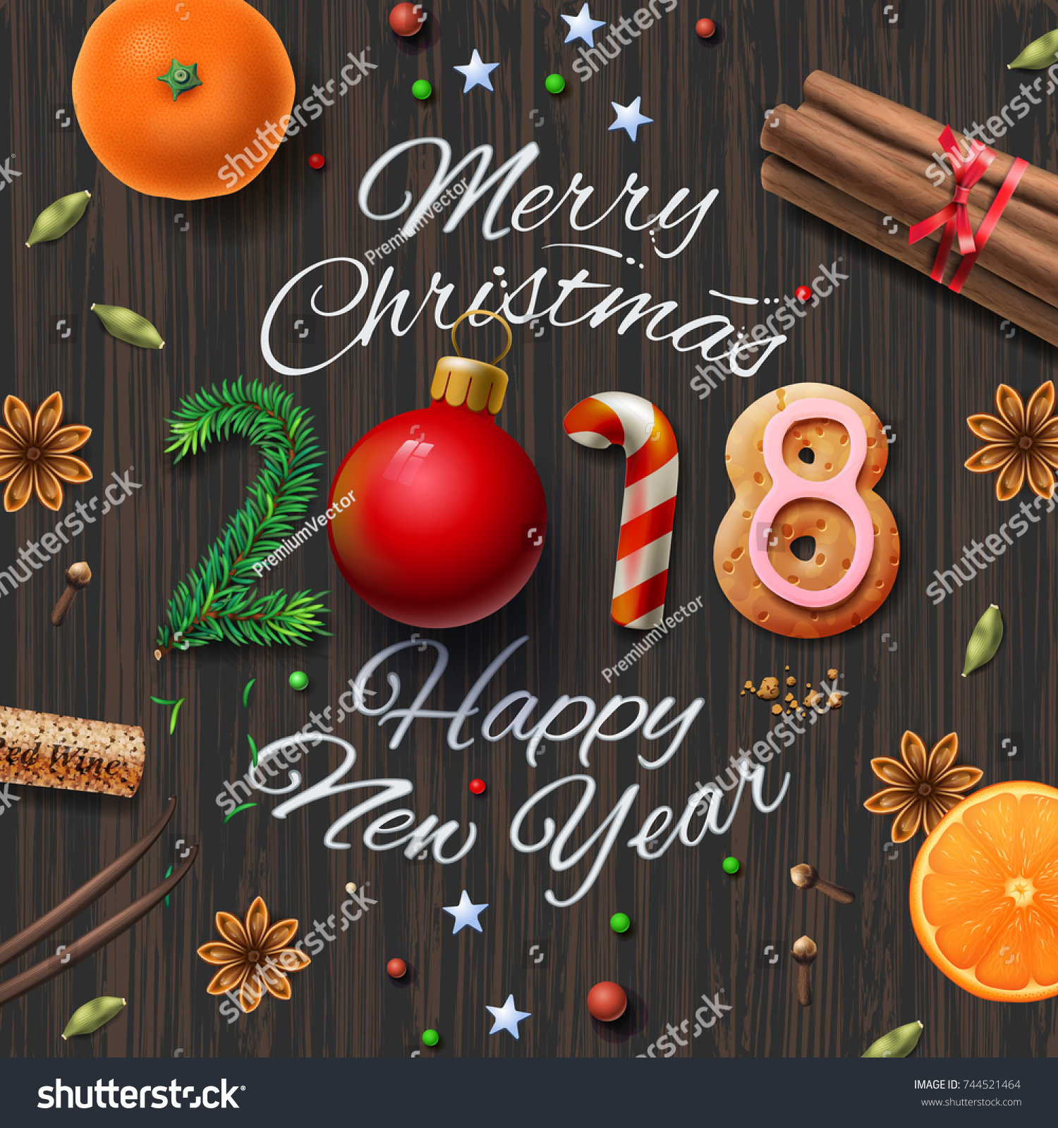 Merry Christmas Happy New Year 2018 Stock-Vektorgrafik (Lizenzfrei ...