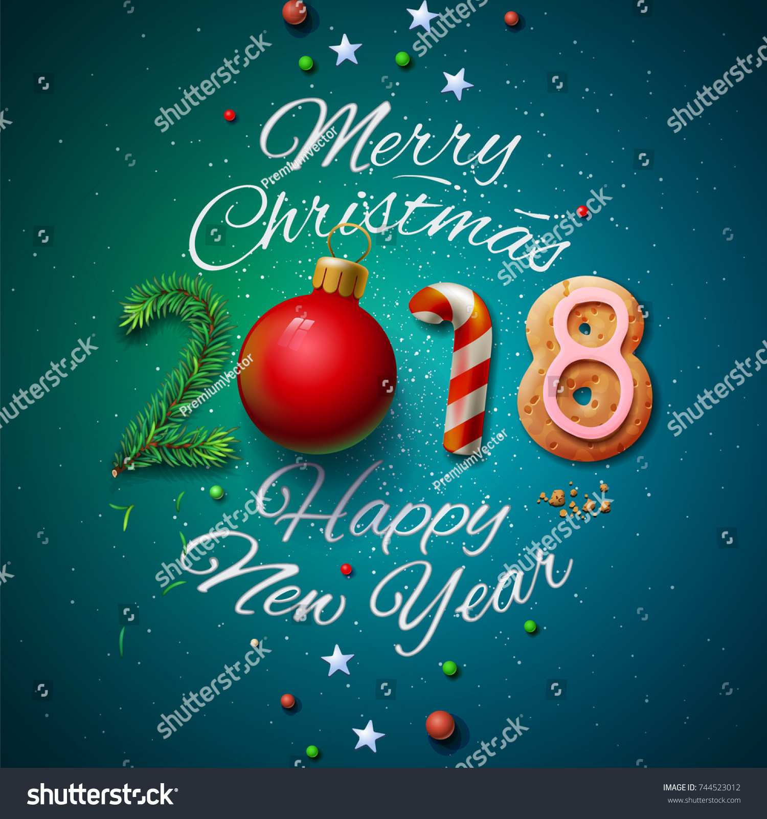 merry christmas and happy new year 2018 greeting card vector illustration