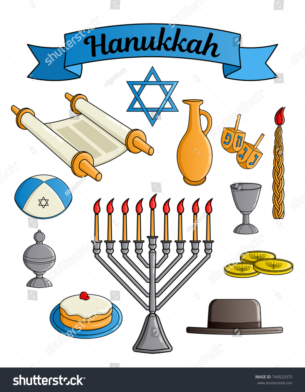 Collection jewish holiday hanukkah symbols traditional stock collection of the jewish holiday hanukkah symbols traditional candlestick candle star of david buycottarizona Images