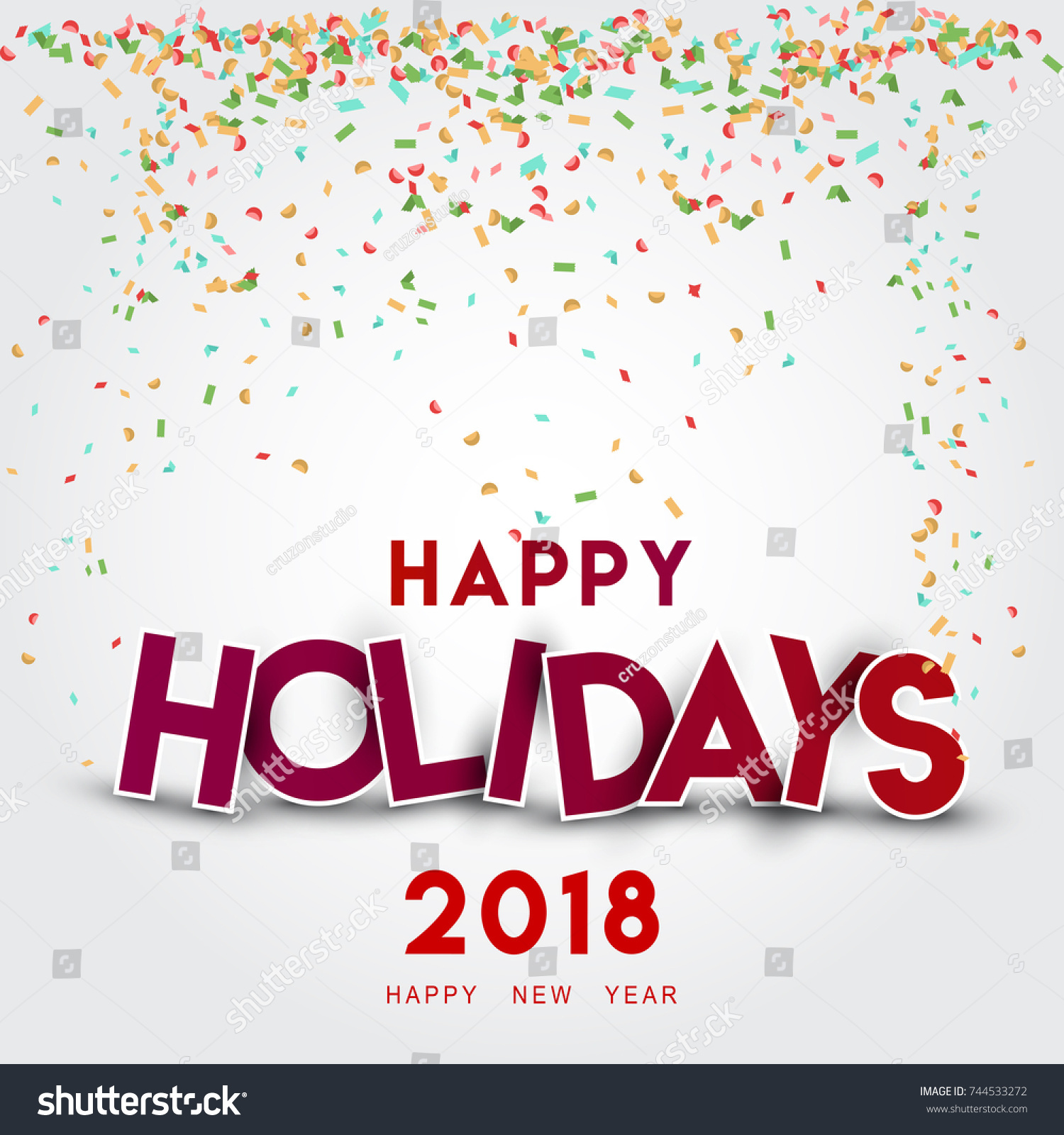 Happy Holidays Lettering Christmas Merry Christmas Stock Vector ...