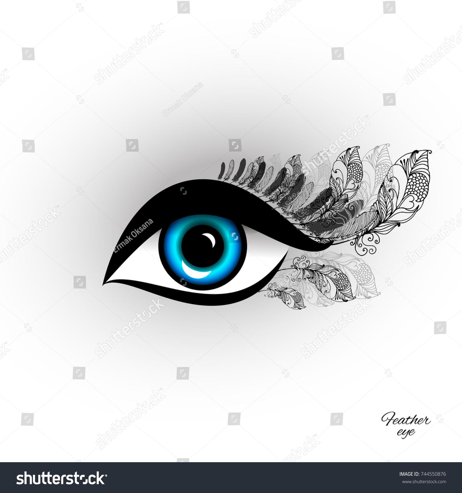 Beautiful Feather Eye Long Eyelashes Sample Stock Vector Royalty