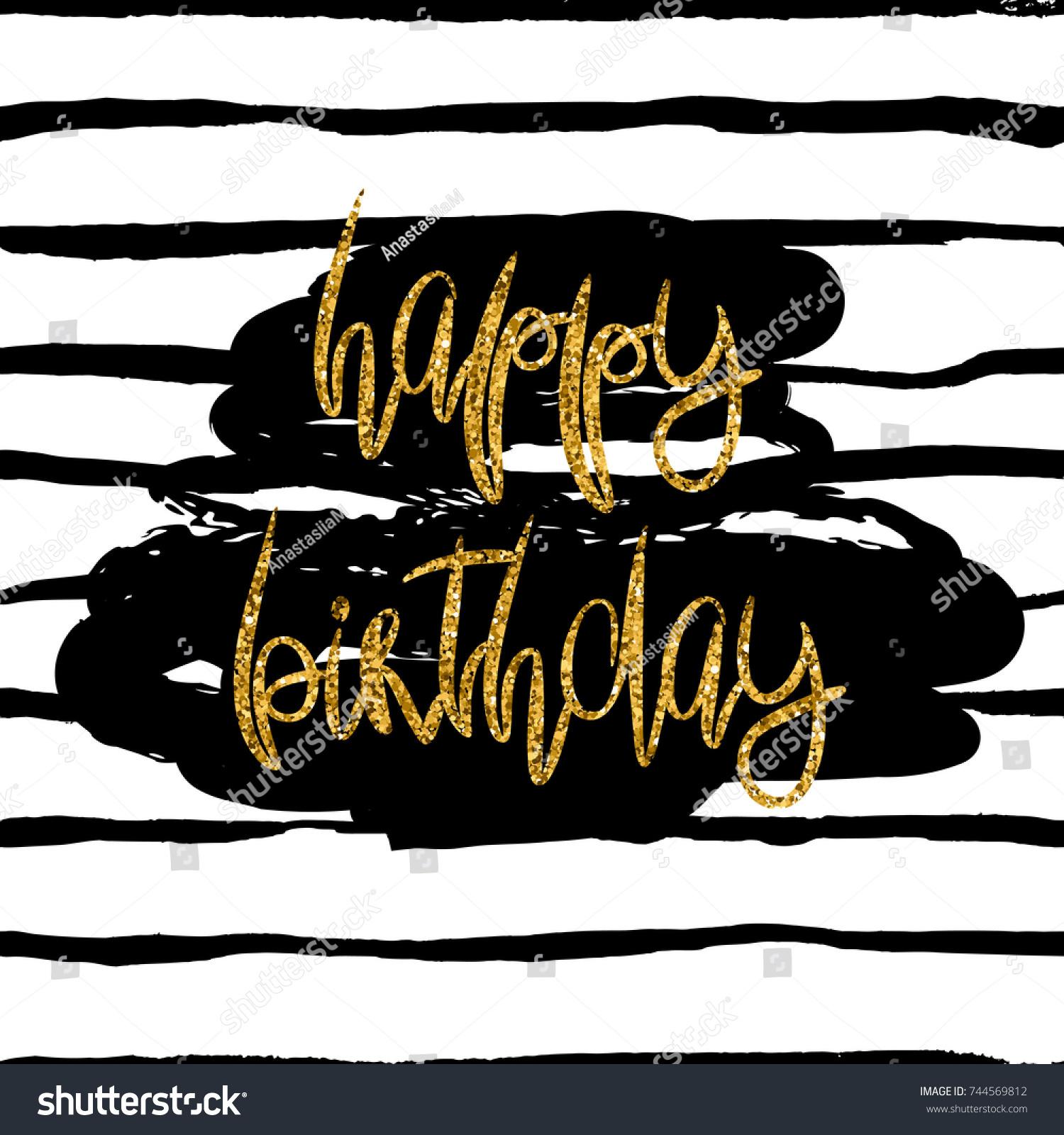 stylish happy birthday card template gold stock illustration