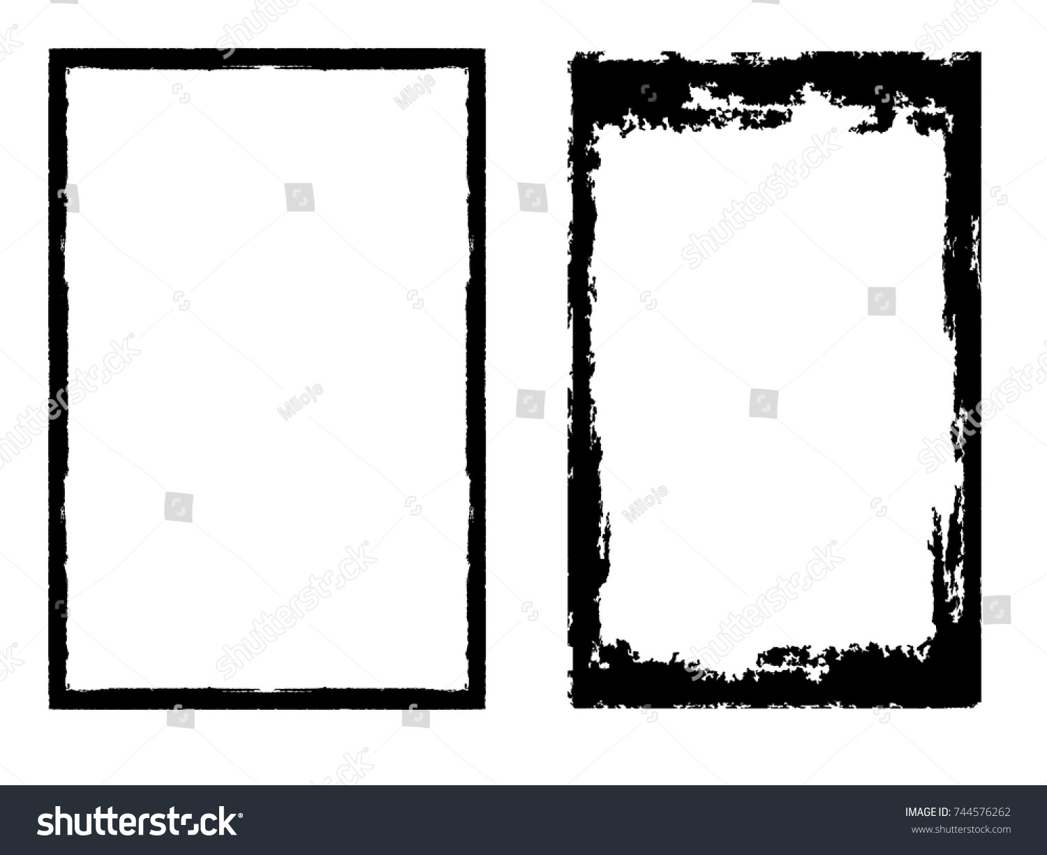 Vector frames rectangles image distress texture stock vector vector frames rectangles for image distress texture grunge black borders isolated on the jeuxipadfo Images