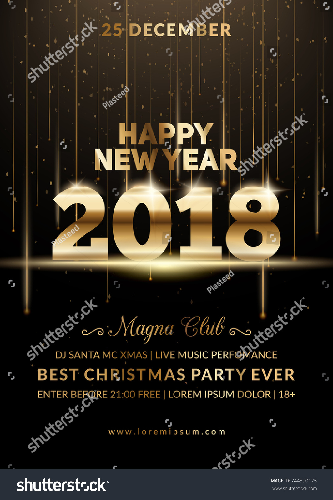 new year 2018 party club poster modern design for a holiday party flyer eps10