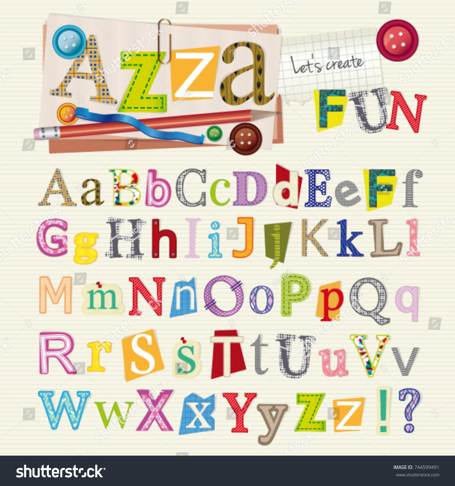 Set scrapbook letters elements alphabet original stock vector 744599491 shutterstock - Lettre alphabet original ...