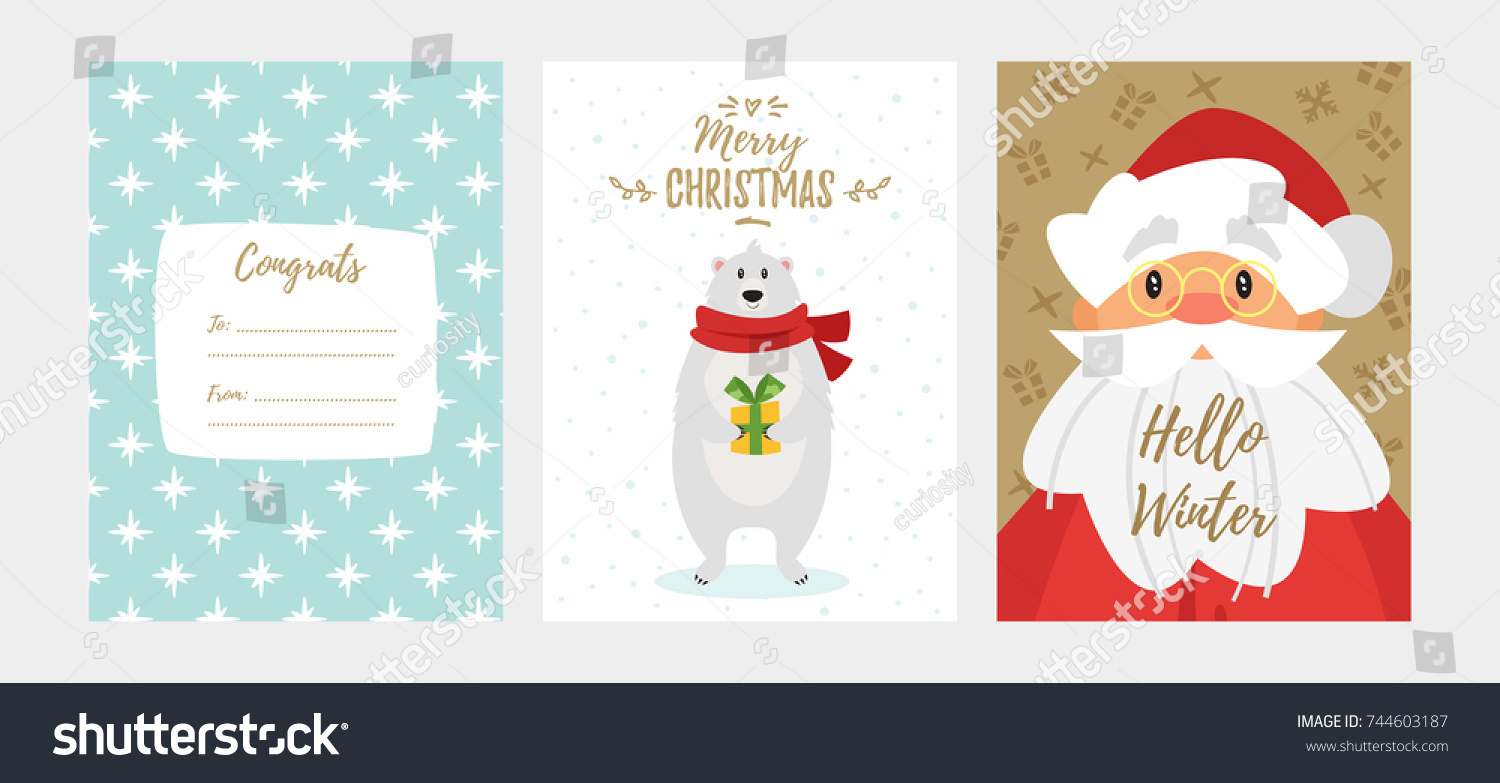 Vector cartoon style set christmas new stock vector 744603187 vector cartoon style set of christmas and new year greeting card with cute holiday characters and kristyandbryce Choice Image