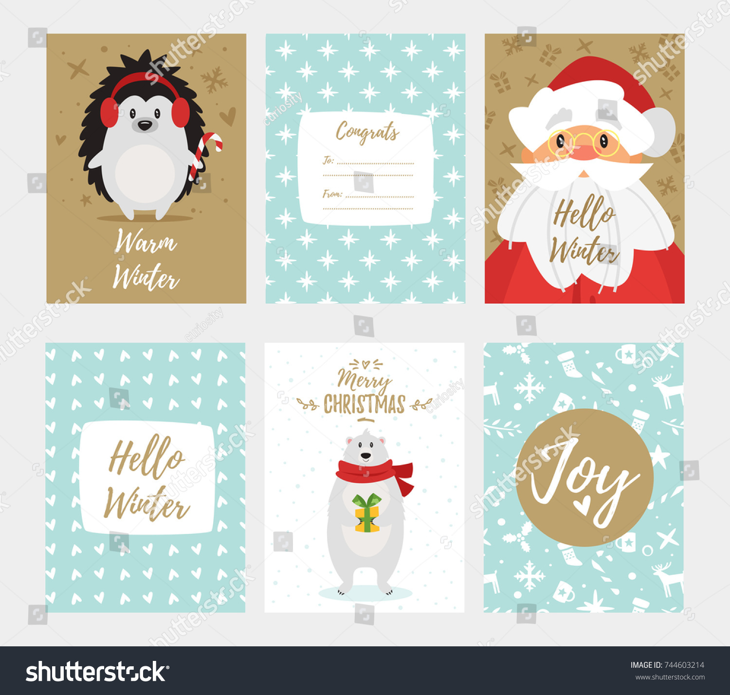 Vector cartoon style set christmas new stock vector 744603214 vector cartoon style set of christmas and new year greeting card with cute holiday characters and kristyandbryce Gallery