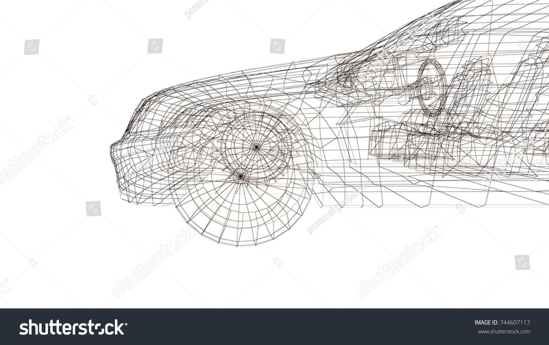 Car Model Body Structure Wire Model Stock Illustration 744607117 ...