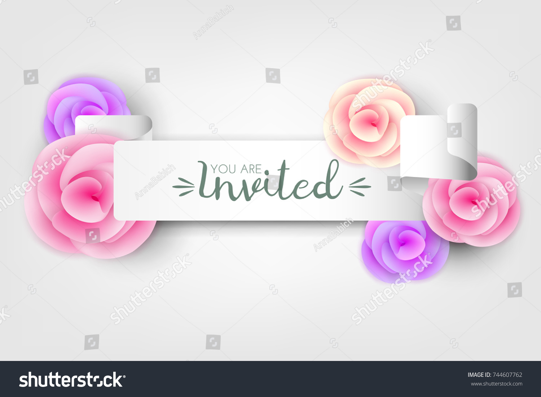 Wedding Birthday Invitation Announcing Banner White Stock Vector ...