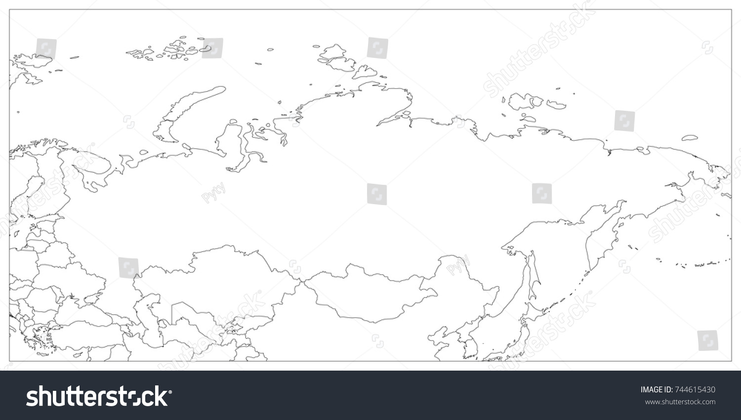 Political Map Russia Surrounding Countries Black | Royalty ...