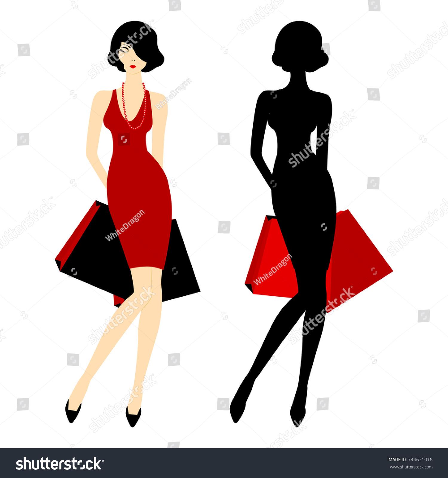 Poster Design Template Glamour Girl Figure Stock Vector Royalty