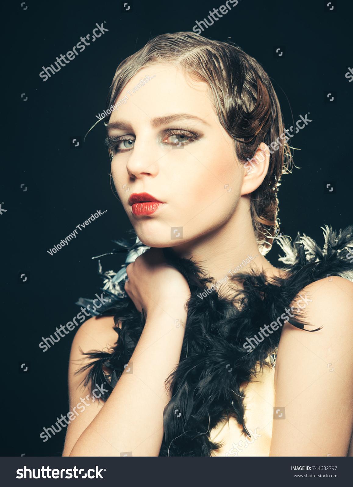 Pinup Girl Boa Retro Hair Makeup Stock Photo Edit Now 744632797