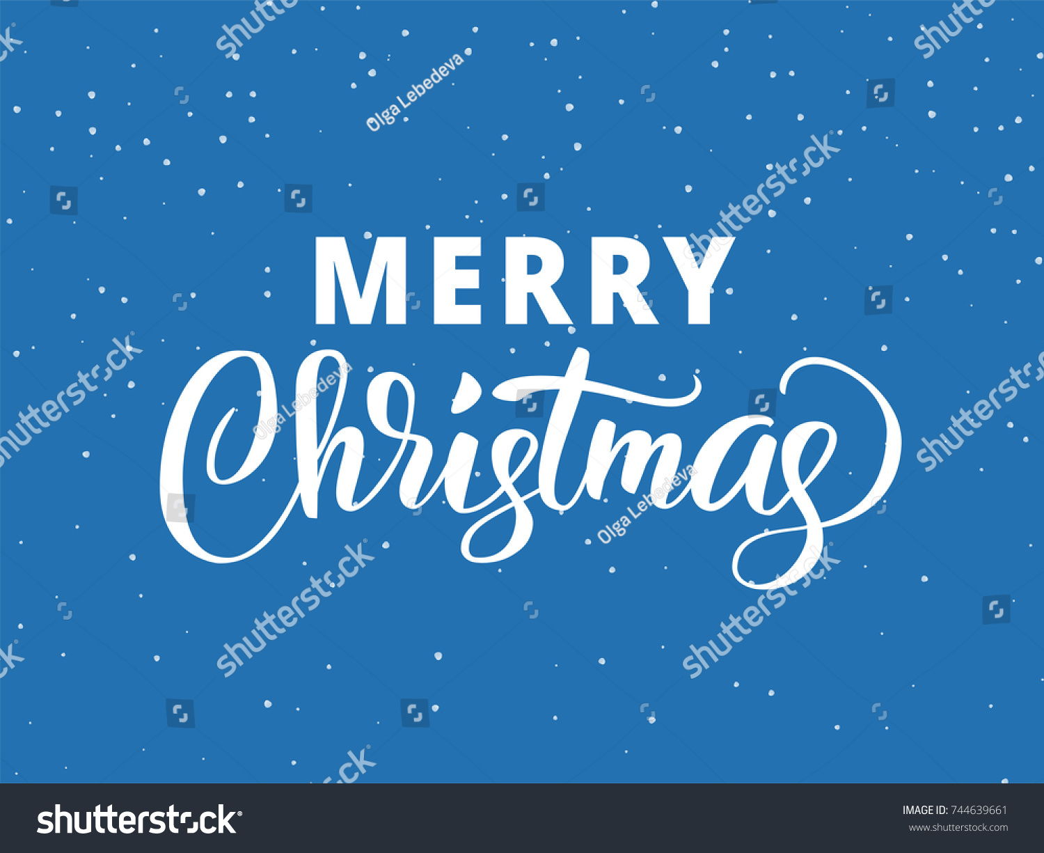Merry Christmas Hand Drawn Lettering Holiday Stock Vector Royalty