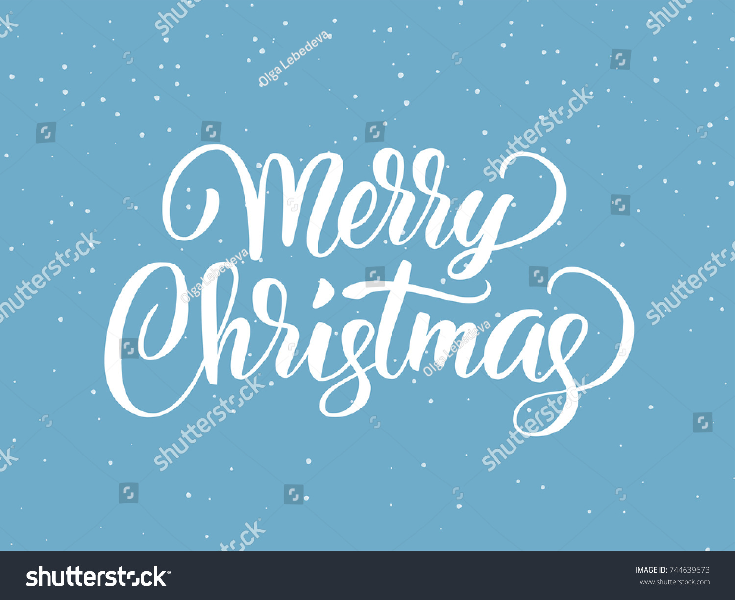Merry christmas hand drawn lettering holiday stock vector royalty merry christmas hand drawn lettering holiday greetings quote blue flat background with falling snow m4hsunfo