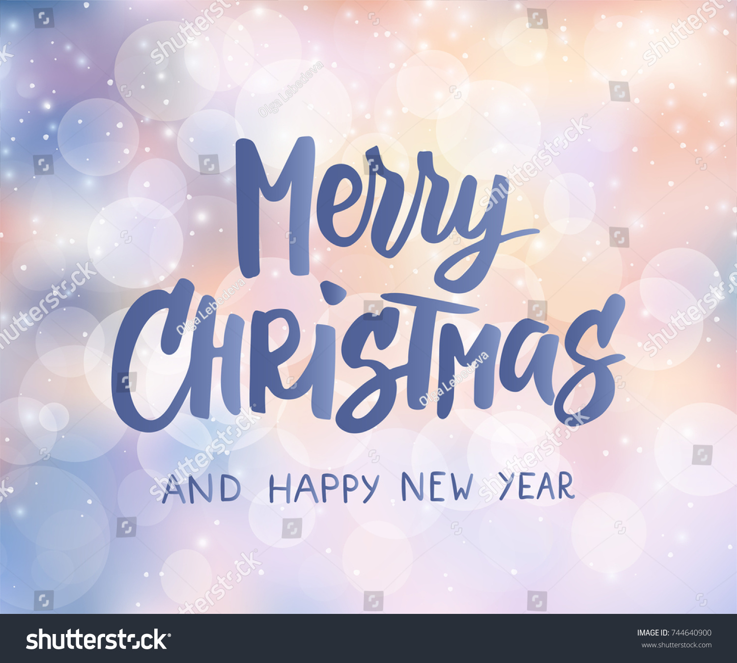 Merry Christmas Happy New Year Text Stock Vector 744640900