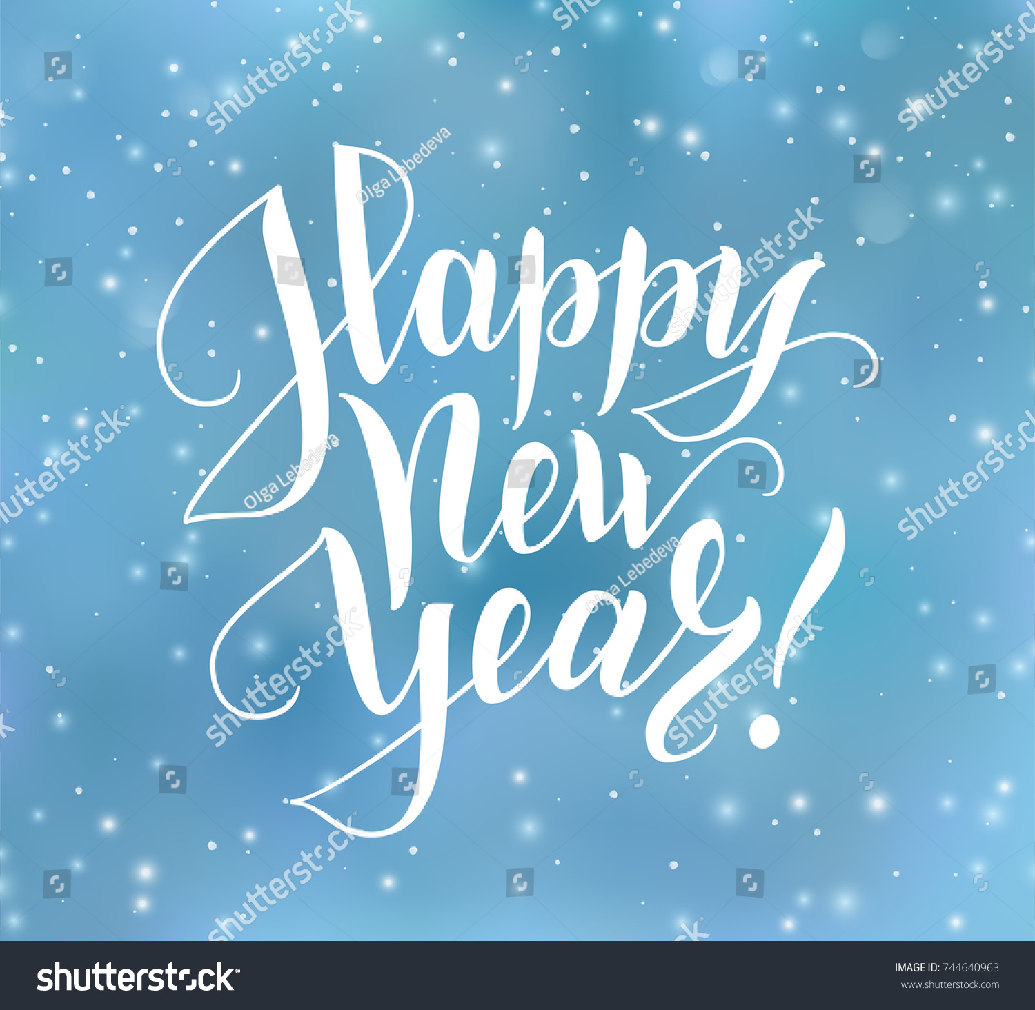 Happy New Year Text Hand Drawn Stock Vector Royalty Free 744640963