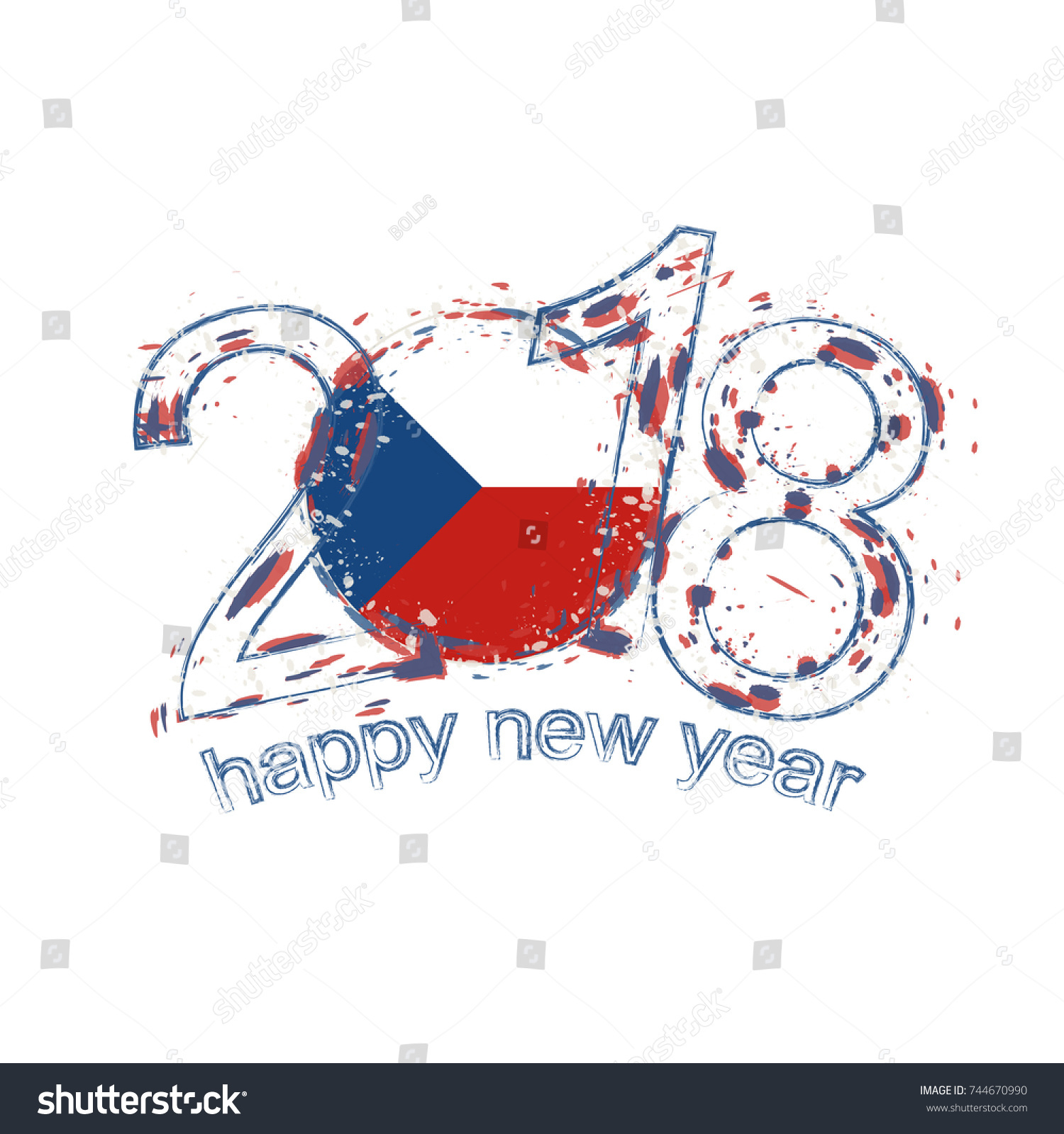 2018 Happy New Year Czech Republic Stock Vector Royalty Free