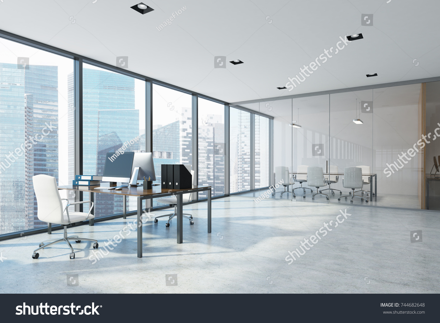 White Open Space Office Interior Aquarium Stock Illustration ...