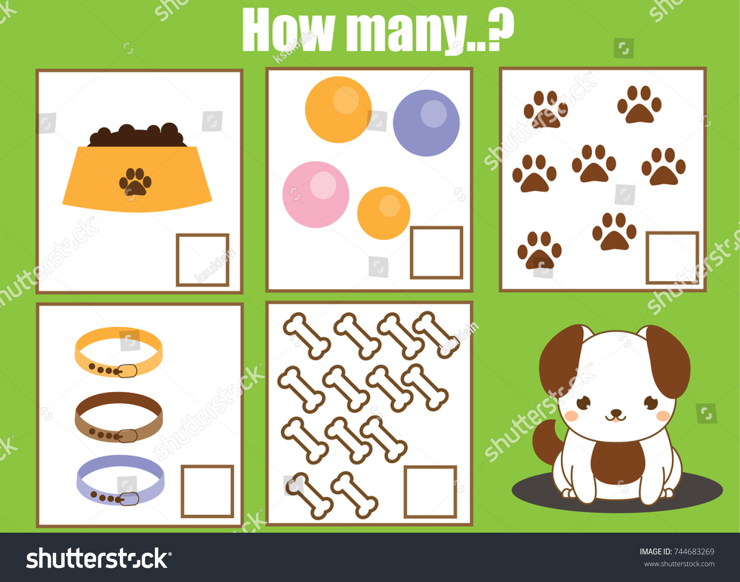 Counting Educational Children Game Math Kids Stock Vector 744683269 ...