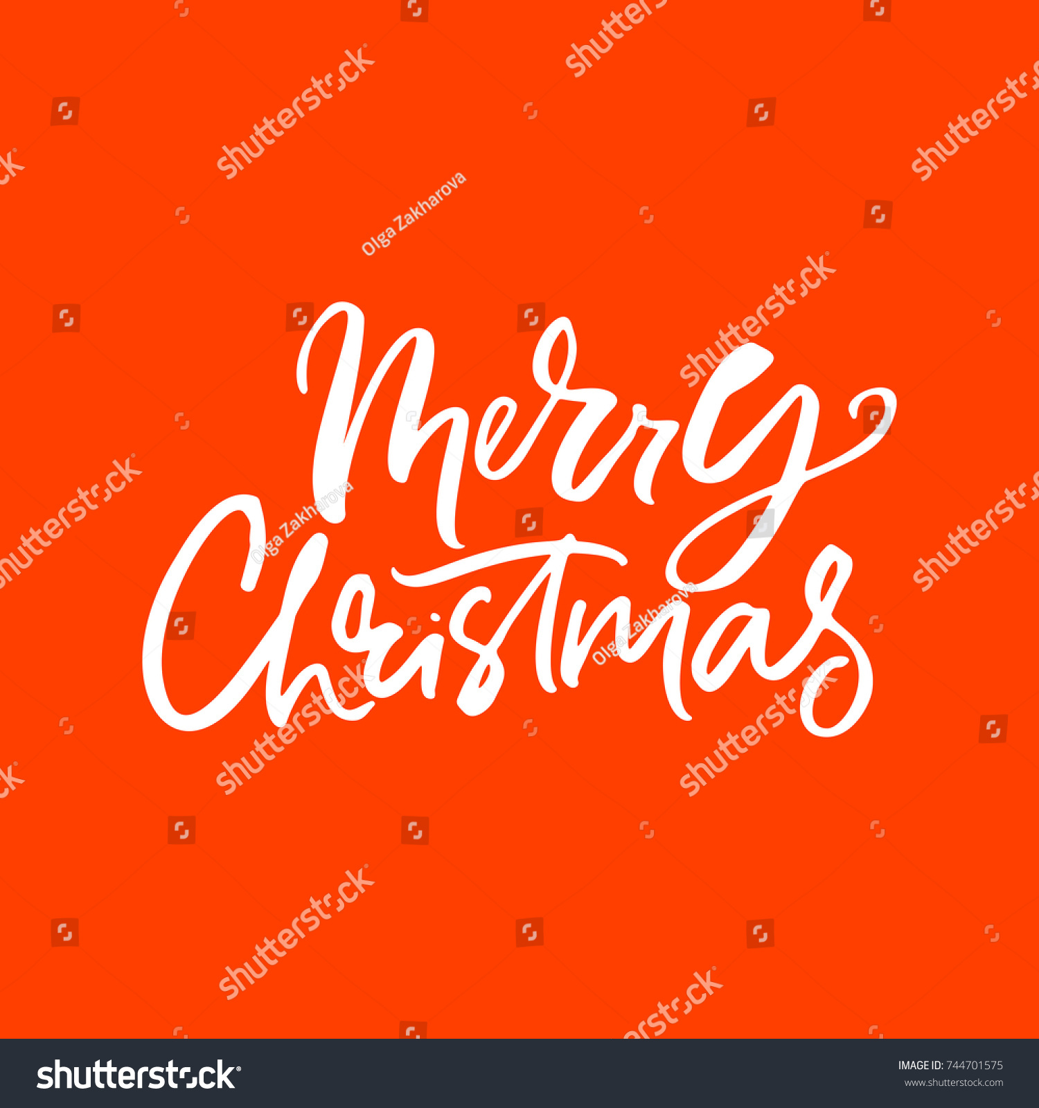 Merry Christmas Handdrawn Lettering Perfect Unique Stock Vector ...