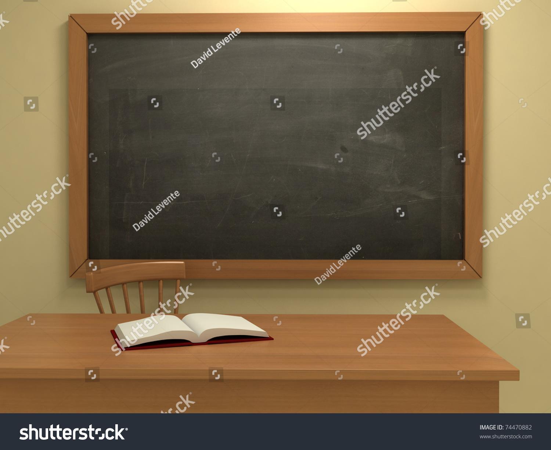 Blackboard Innovative Classroom ~ Realistic classroom empty blackboard d illustration stock