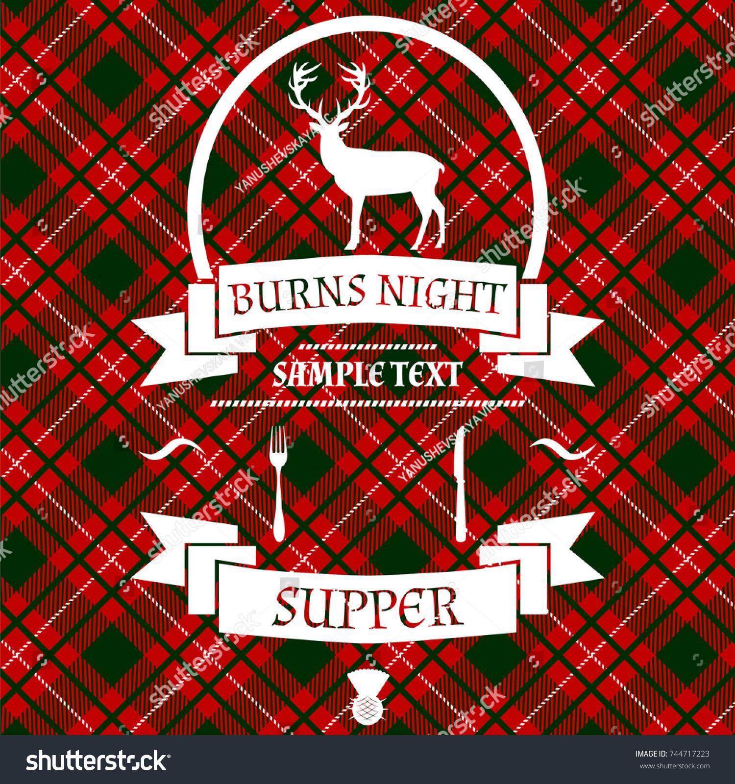 Burns Night Card Deer Thistle On Stock Vector Royalty Free