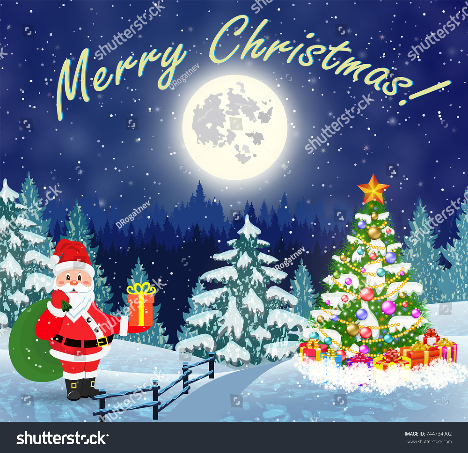Christmas landscape with christmas tree and Santa Claus with gift ...