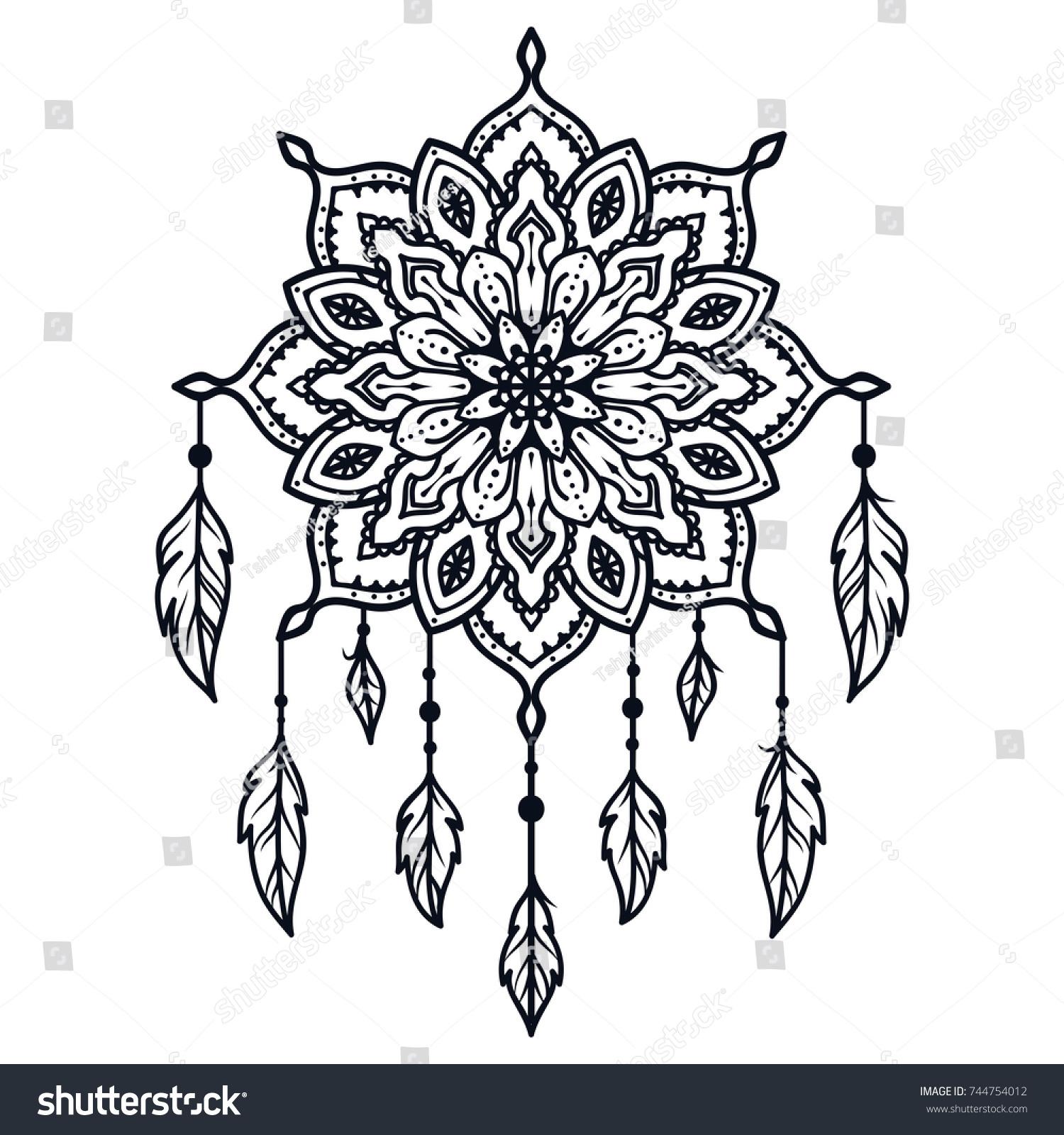 Decorative Round Ornaments Shoulder Tattoo Mandalas Stock