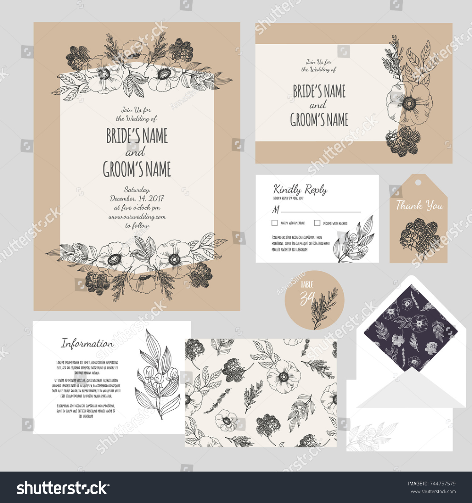 Set Templates Wedding Invitation Postcard Information Stock Vector ...