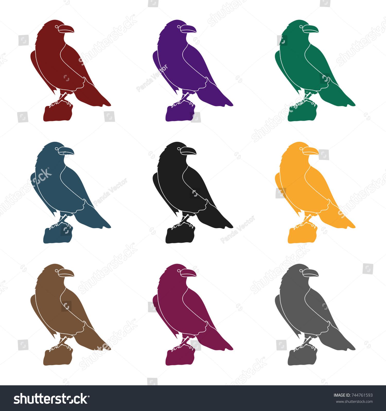 Crow Viking God Icon Black Style Stock Vector 744761593 Shutterstock