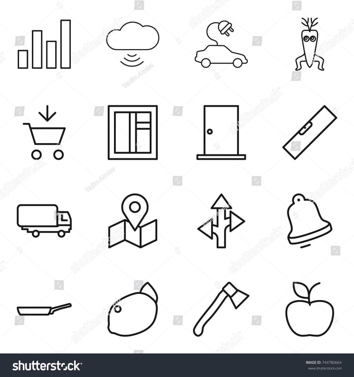 Thin Line Icon Set Graph Cloud Stock Vector 744780664 Shutterstock Electric Car Window Diagram Wireless Dna Modify