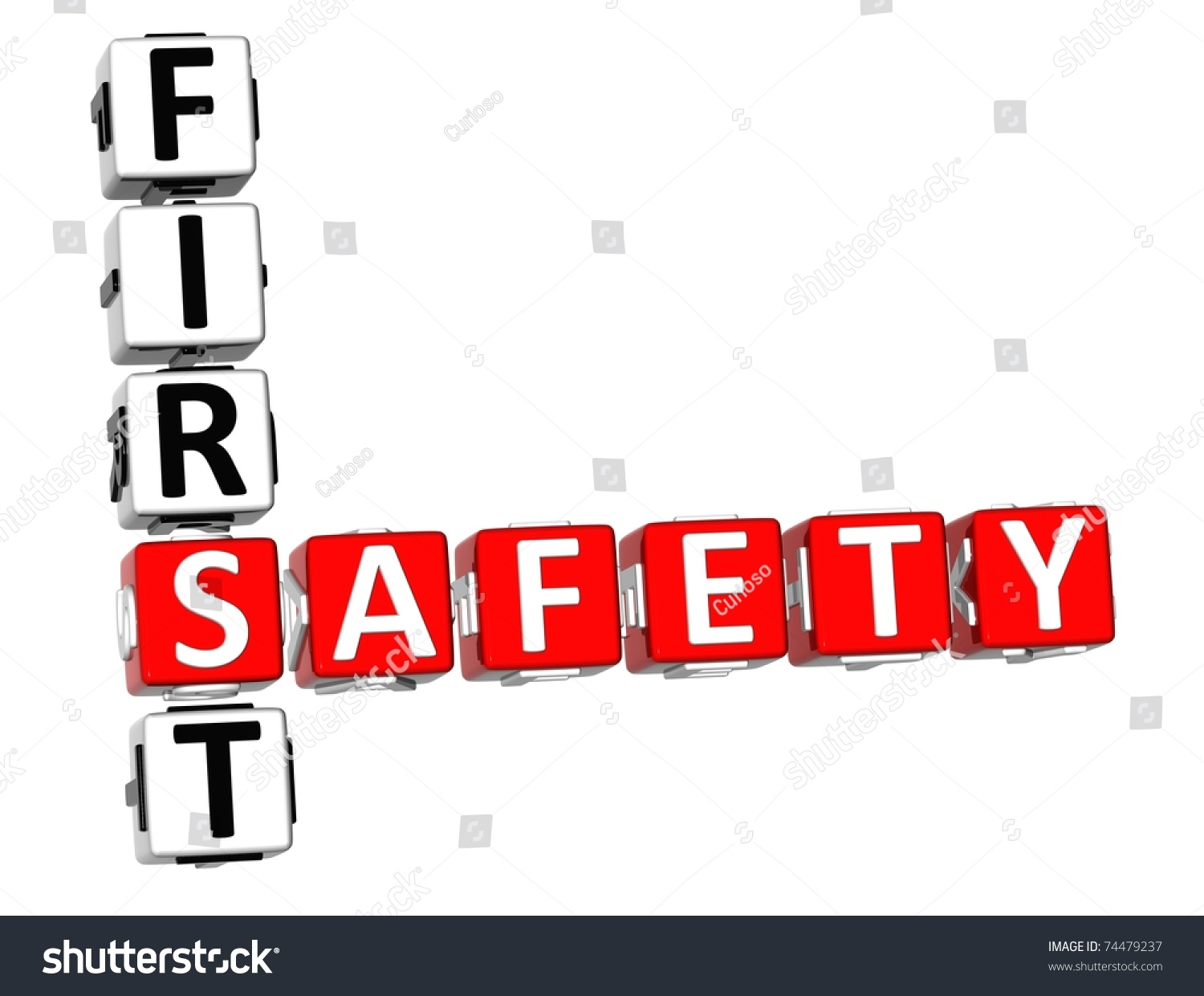 3 D Safety First Crossword On White Stock Illustration 74479237 ...