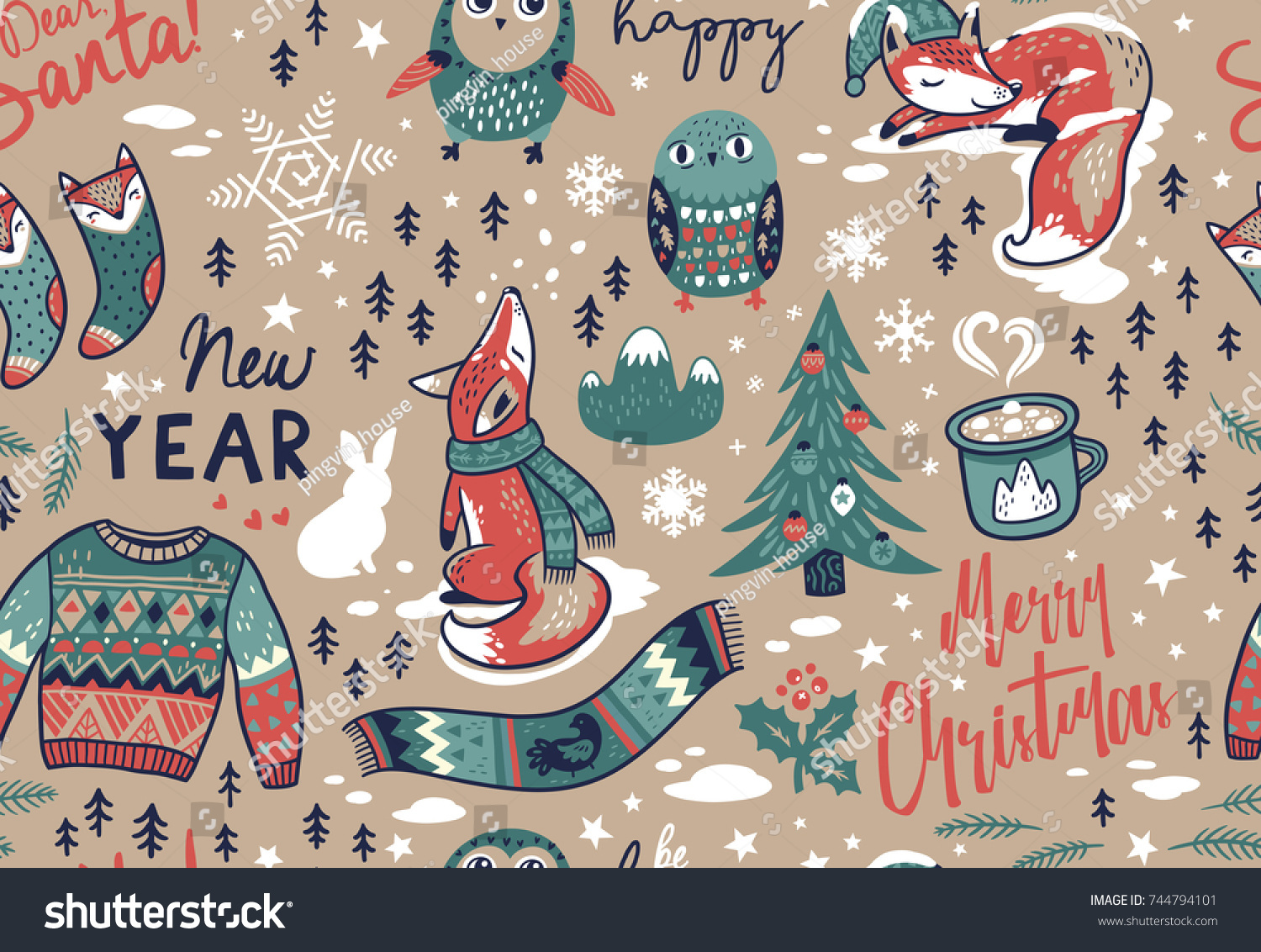 Seamless pattern with winter elements and text in cartoon style. Fox and owls, sweater and scarf, coffee and socks. Lovely endless background for meeting New year and Christmas.