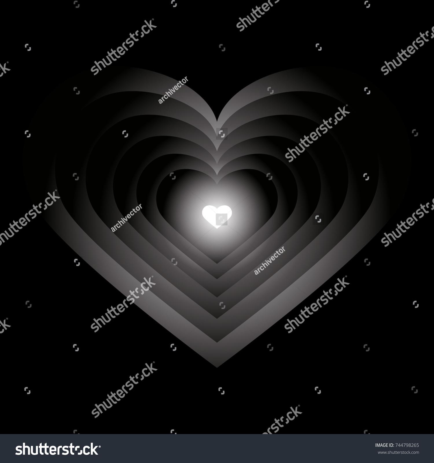Abstract Symbol Light Hearts Darkness Vector Stock Vector 744798265