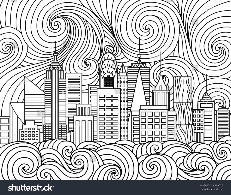 Line Art Design New York City Stock Vector 744799276 - Shutterstock