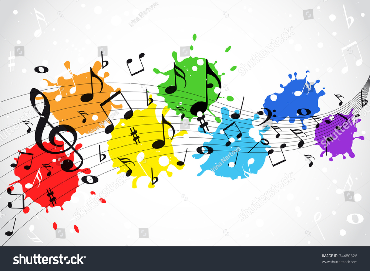 Full Color Music Background: Music Notes Color Background Stock Vector 74480326