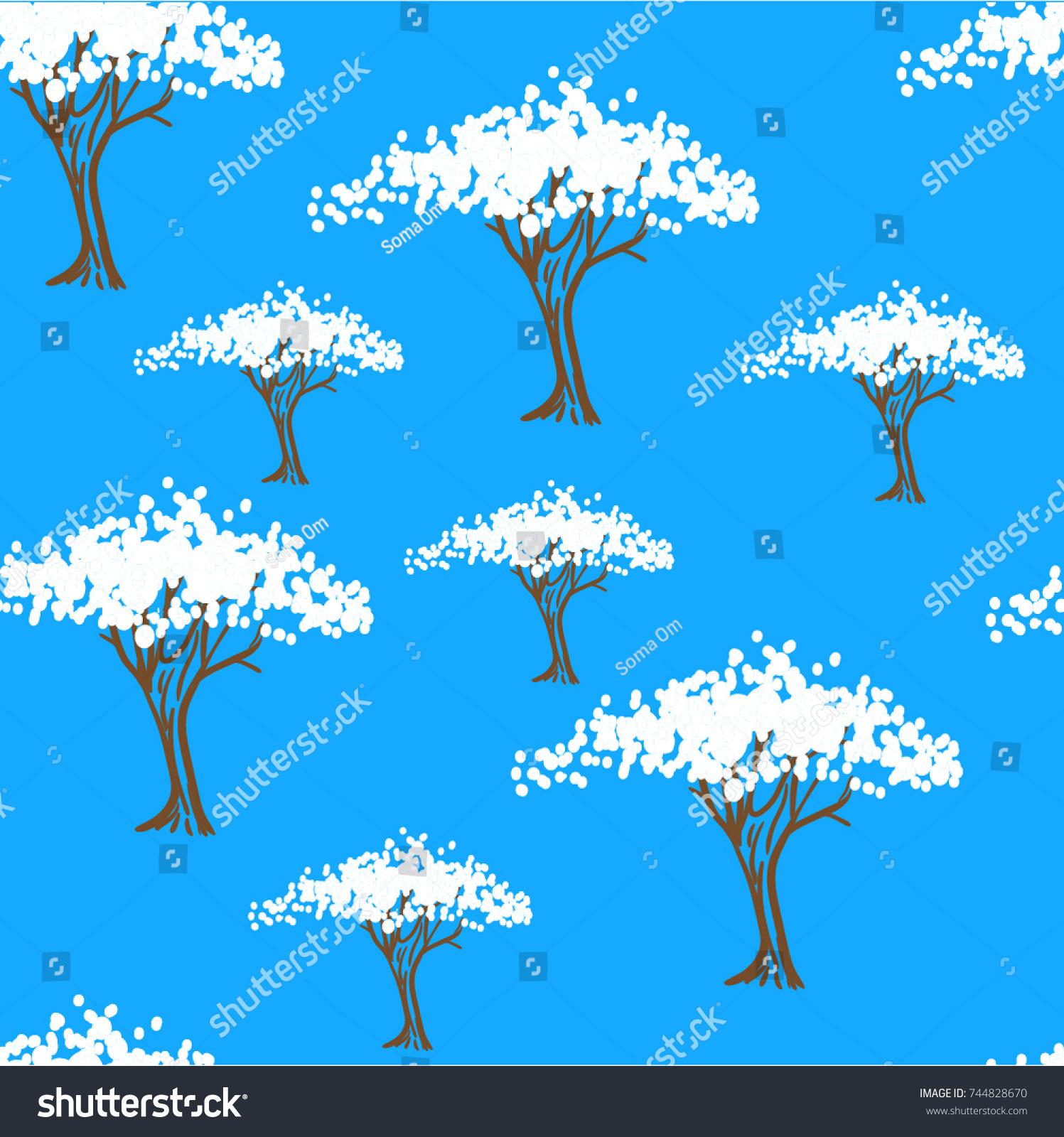 White flowering trees on blue background stock photo photo vector white flowering trees on a blue background stylized blooming trees garden spring izmirmasajfo