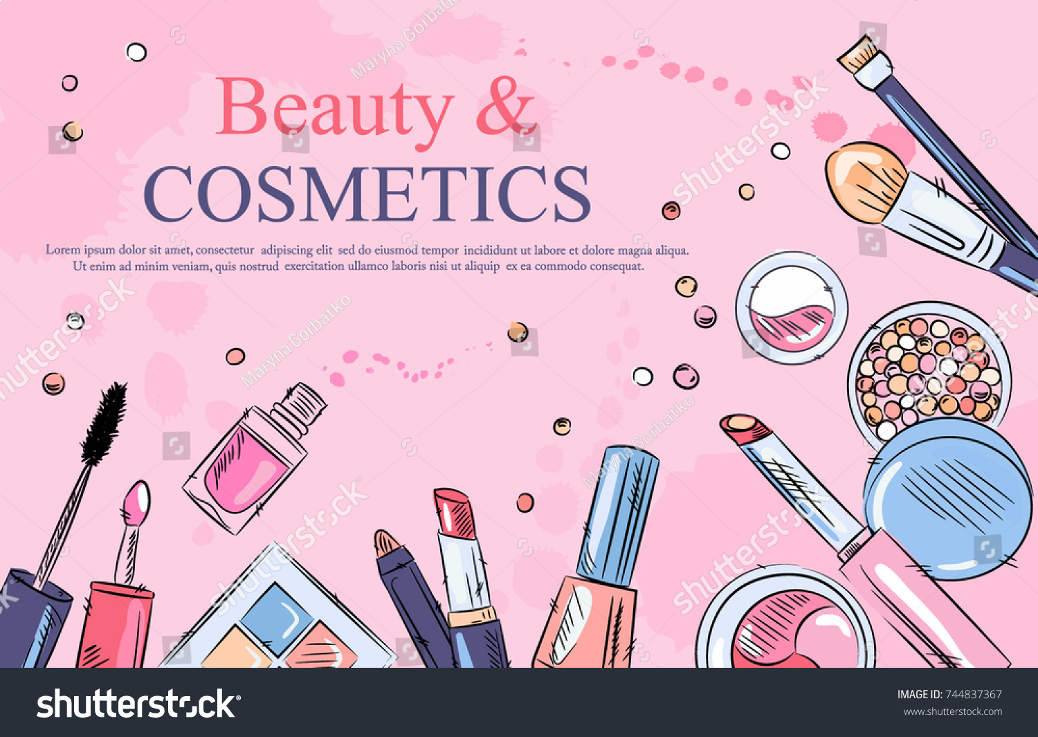 Sketch Cosmetics Products Fashion Makeup Banner Stock Vector Royalty Free 744837367