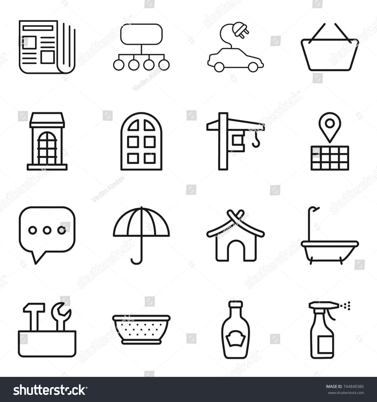 Thin Line Icon Set Newspaper Structure Stock Vector Royalty Free Electric Car Window Diagram Basket Building